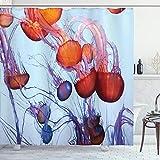 ABAKUHAUS Nautisch Duschvorhang, Quallen im Ozean, mit 12 Ringe Set Wasserdicht Stielvoll Modern Farbfest & Schimmel Resistent, 175x180 cm, Pale Blue Rust
