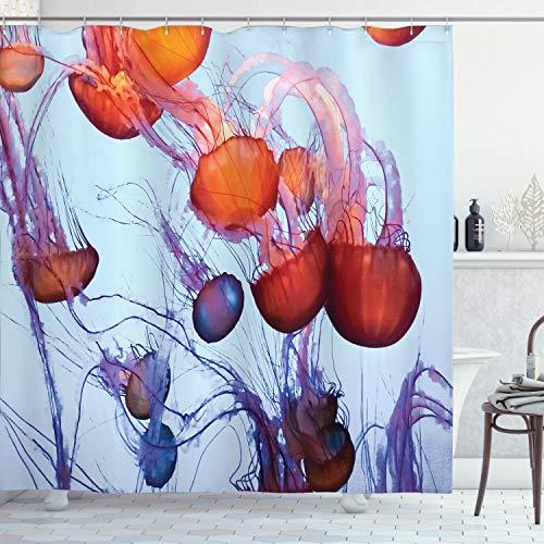 ABAKUHAUS Naranja Cortina de Baño, Animales Marinos Contemporáneo Náutico Medusa Colorida Océano Gota de Agua, Tela Sintética Estampada Opaca Anthimoho Set con 12 Ganchos, 175 x 200 cm, Naranja