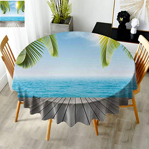 Fogoodecor Beach Round Tablecloth, Tropical Exotic Seashore with Palm Trees Sunny Day Summertime Vacation Theme Table Cloth for Weddings Banquets Restaurants, Diameter 60' Aqua Green Grey