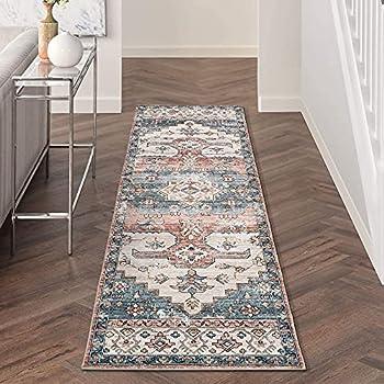 DECOMALL FINEEN Runner Rugs for Hallway Kitchen Lobby 2.5 x9  Persian Vintage Distressed Medallion Long Carpet Orange Blue Multi
