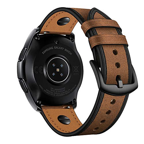 Aottom Kompatibel mit Armband Galaxy Watch 46mm Leder,Lederarmband Samsung Gear S3 Frontier Armband 22mm Herren Ersatzband für Amazfit GTR 47mm/Huawei Watch GT2 46MM,Watch GT Active/Sport/Classic