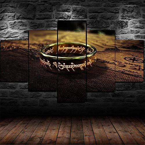 MSKJFD 5 Piezas Cuadro Lienzo Impresión Cuadros Moderno Murales Decoración Personalizado Artística Imagen Salón Dormitoriomapa De Anillo