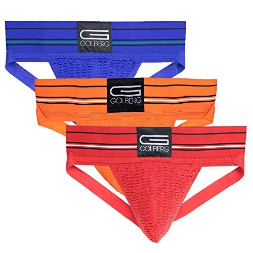 Mens Jockstrap Underwear - 3 Pack (Blue, Orange, and Red) - Size Medium (32-38 Inch) - Athletic Supporter