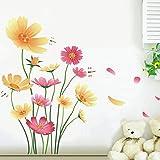 Chrysanthemums Flowers Butterflies Dragonflies Wall Decal Garden PVC Home Sticker House Vinyl Paper Decoration WallPaper Living Room Bedroom Kitchen Art Picture DIY Murals Girls Boys kids Nursery Baby