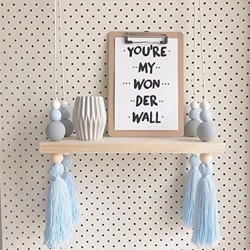 N/Y Estante flotante de pared, estilo nórdico decorativo, estante colgante de pared de madera oscilación con cuerda para habitación de niños decoración del hogar