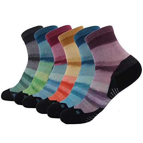 HUSO Novelty Crazy Socks Gift, Mens Womens Patterned Seamless Crew Wick Dry Running Socks 6 Pairs (Multicolor,L/XL)