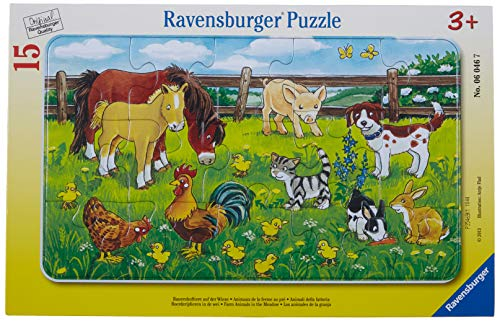 Ravensburger Kinderpuzzle 06046 - Bauernhoftiere auf der Wiese - Rahmenpuzzle