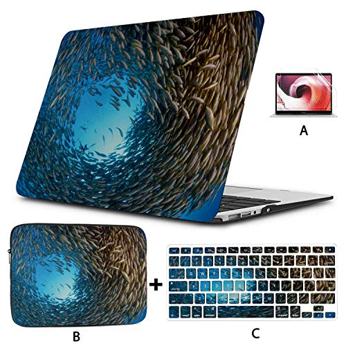 MacBook Air 13 Inches Coral Reef Sea Fish MacBook Laptop Cover Hard Shell Mac Air 11'/13' Pro 13'/15'/16' with Notebook Sleeve Bag for MacBook 2008-2020 Version