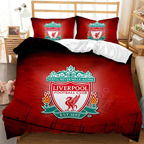 QXbecky Football Team Logo Bedding, Soft Microfiber Quilt Cover, Pillowcase, 2, 3-Piece Set, Hidden Zipper Double Bed