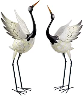 Bits and Pieces -Red Crowned Cranes Metal Garden Sculpture - Set of Two Metal Cranes for Home and Garden Décor - Metal Gar...