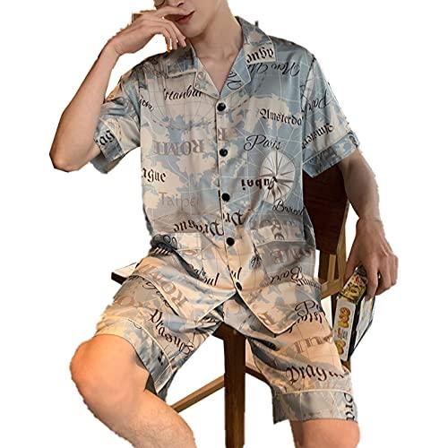 TIANLU Pijama de satén sedoso para hombre, conjunto de pijamas de manga corta con botones(# 1/L)