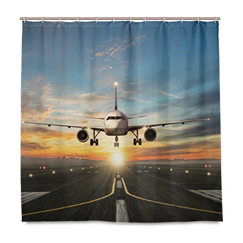 BALII Sunrise Airplane Duschvorhang 183 x 183 cm Polyester wasserdicht mit 12 Haken für Badezimmer