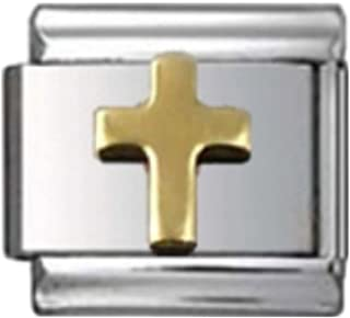 Stylysh Charms Cross Gold Tone Religious Enamel Italian 9mm Link RE025