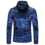 Men's Gold Velvet Turtleneck Solid Color Long Sleeve Tops New Casual High-Collar Pullover Shirt Blouse S-2XL