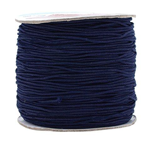 Mandala Crafts 1mm Elastic Cord Stretchy String for Bracelets, Necklaces, Jewelry Making, Beading, Masks; 109 Yards Navy Blue
