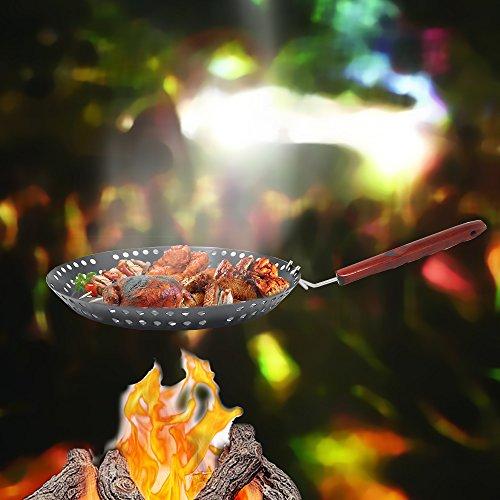 Ø 32 cm grillpan BBQ grill pan braadpan groente grillen anti-aanbak geperforeerd