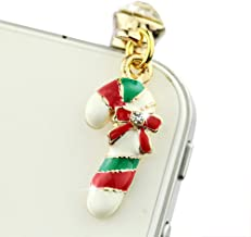 IP425-B Cute Christmas Candy 3.5mm Ear Jack Anti Dust Plug Cover for iPhone & Android