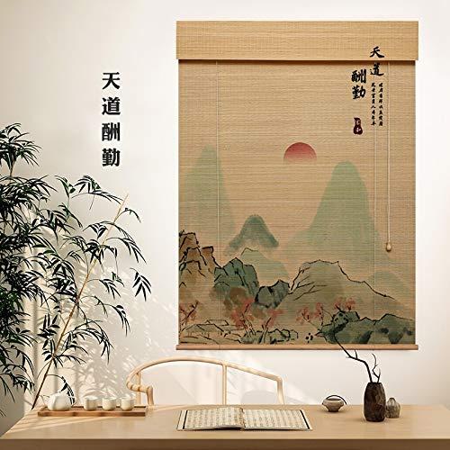 GDMING Tende di bambù, Roman Shades, Filtro Luce Cura delle Finestre Tenda con Side Pull, Roman Shades Home Decor Interno Partizione, Personalizzabile (Color : Natural, Size : 110x220cm)
