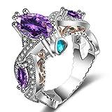 FENDINA Women's Infinity Rings Vintage Pear Cut CZ Twisting Cross Shank Bridal Engagement Wedding Halo Promise Eternity Rings Purple, 6