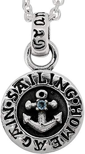 [グランデュアー]GRAN DEUR アンカー コイン アクアマリン シルバー 925 ネックレス (チェーン付き) 天然石 メンズ