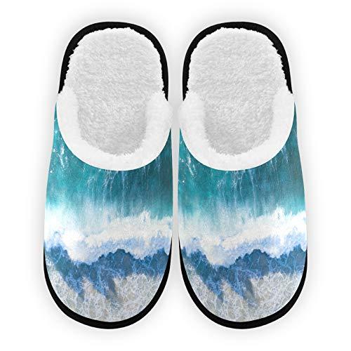 Zapatillas para hombre y mujer, forro de felpa, cómodas, cálidas olas de forro polar coral, para interior y exterior
