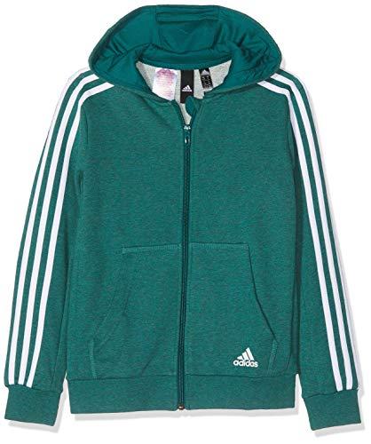 adidas Jungen 3 Stripes Full Zip Hood Kapuzen-Jacke, Noble Green Melange/Noble Green/White, 128