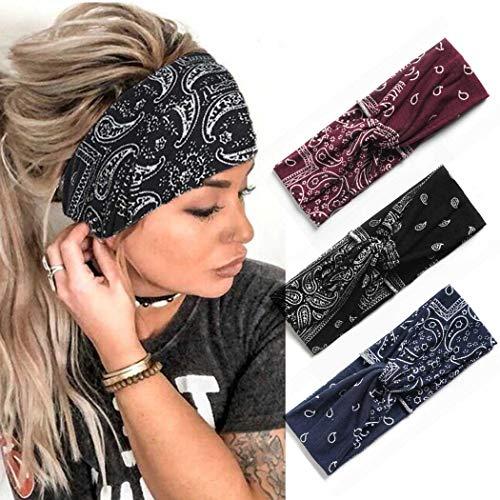 Zoestar Boho Criss Cross Stirnbänder Schwarz Yoga Head Wraps Vintage Gedruckt Haarschal Stilvolle Elastische Haarbänder für Frauen (3 Stück) (A)