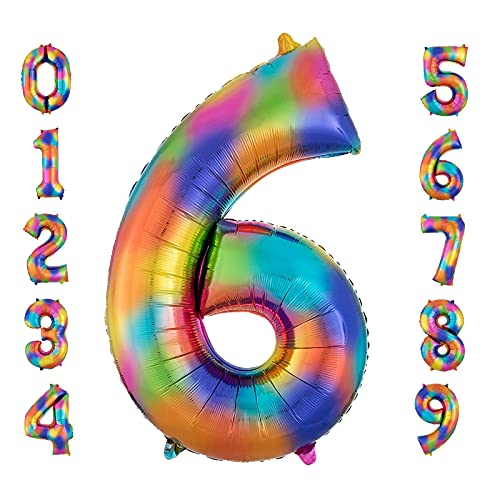 Globo Número Gigante 6, 40 Pulgadas Foil Globo Número 6 Arcoíris, Globo de Cumpleaños Fiesta Decoración Boda Aniversari, Globos Numeros Gigantes para Fiestas