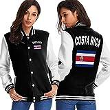 BYYKK Chaquetas Ropa Deportiva Abrigos, Costa Rica Flag-1 Women's Long Sleeve Baseball Jacket Baseball Jacket Uniform