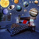 MAFOX Glow in The Dark Planets with Colorful Stars, Solar System Wall Stickers -Sun Earth Mars ect,11 Glowing Ceiling Decals for Bedroom Living Room,Shining Space Decoration for Kids for Girls and Boy