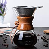 Pour Over Coffee Maker, BicycleStore Paperless Glass Carafe with Stainless Steel Filter Reusable Glass Coffee Pot Manual Coffee Dripper Brewer Hand Drip with Wood Sleeve for Home Travel (14 oz/400 ml)