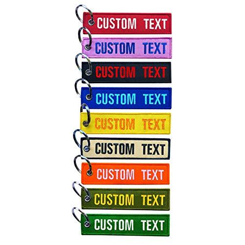 BIHU MVCEN Llavero bordado personalizado, llavero personalizado 2 piezas, llavero de coche para hombre, lindos llaveros para mujer (R shape)
