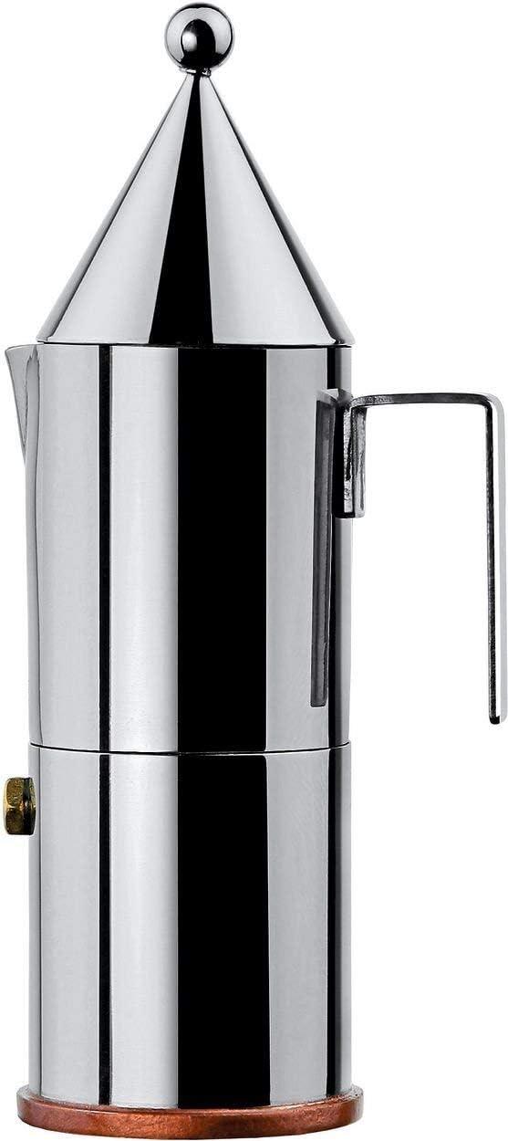 Alessi La conica 90002/6 Cafetera para Café Exprés de Diseño, Acero Inoxidable y Fondo en Cobre, Plateado, 3 Tazas