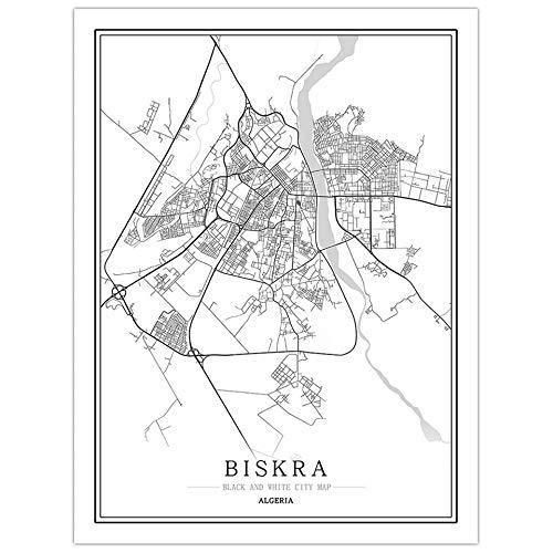 fsafa Biskra City Map Jigsaw Puzzle Desafiante Juego Educativo Intelectual Descompresión Juguete,En Casa,Lockdown,Regalo De Cumpleaños,Wall Art,Pretty Gift Assembling,1000Pcs