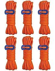 Brotree テント ロープ 反射材入りパラコード 長 4m 6本 ガイライン ガイドロープ アルミ自在金具 収納網袋付 (4mm 耐荷重 250kg) / (5mm 耐荷重 340kg)