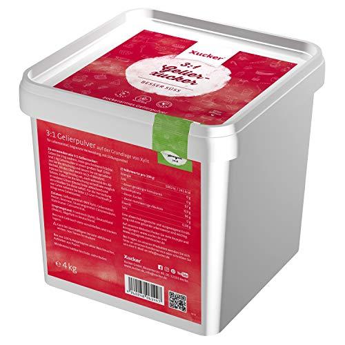 Xucker 3:1 Gelier-Xucker 4kg mit Xylit Birkenzucker - leckere Gelierzucker Alternative I Veganer Gelierxucker von Xucker zum Kochen für Marmelade & Gelees
