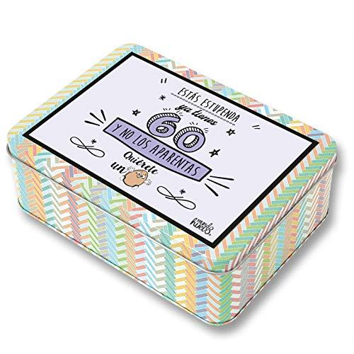 Regalo Mujer 60 años. Pack Caja metálica 18x13x6 cm, Bolsa 35x40 cm, Pulsera, libreta A-6 y boli. Ya Tienes 60 y no los aparentas