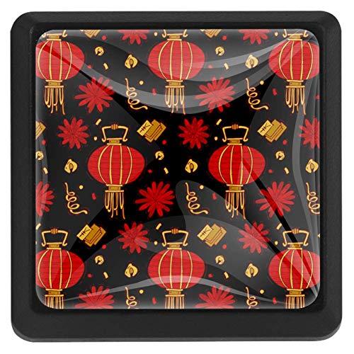 TIZORAX Tiradores cuadrados para cajón, estilo oriental, chino, rojo, para armario, armario, armario, puerta, decoración del hogar