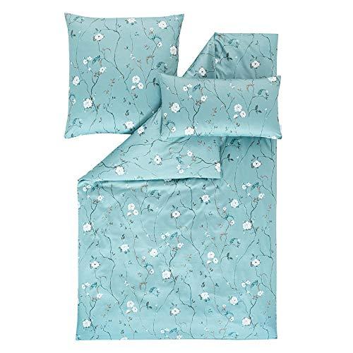 ESTELLA Ropa de cama Soraya | Petrol | 140 x 200 + 70 x 90 + 40 x 80 cm | satén mako con brillo sedoso | apto para secadora | transpirable y suave | 100% algodón