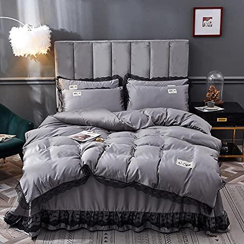 Juego De Funda NóRdica 260x240,Ropa de cama de piel de seda, Seda de hielo Falda de camas frías Down Set de edredón Conjunto de una sola cama doble de una sola funda de almohada, usando un hotel fami