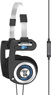 Koss Porta Pro with Microphone and Remote On-Ear Headphones, in-Line Microphone and Touch Remote Control, Collapsible Design, Wired with 3.5mm Plug, Black and Silver