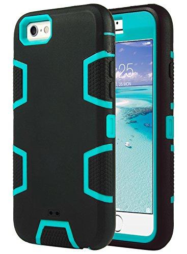 Cover per iPhone 6S, ULAK iPhone 6 Custodia Cover ibrida a protezione integrale con parte esterna in 3 strati di morbido silicone e interno rigido per Apple iPhone 6S   6 Case (4,7 pollice) - Blu + Nero