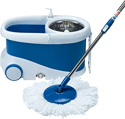 Gala - 142651 Jet Spin mop with stainless steel wringer, jumbo wheels and 2 refills (White and Blue)