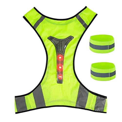 ZWOOS Chaleco LED con Bandas Reflectante, Chaleco de Seguridad Ajustable de Alta Visibilidad para Correr, Ciclismo y Trotar