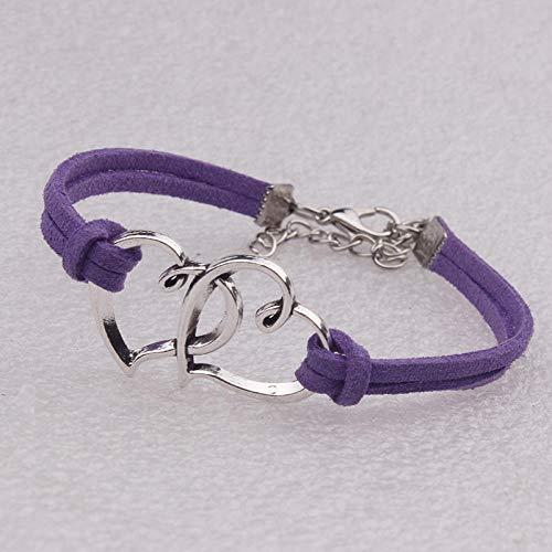 Bracciale In Pelle Da Donna,Multistrato In Pelle Vintage Bracciale Purple Fashion Lega Cuore Doppio Accessori Corda Di Velluto Tessuto Bracciale Bracciale Regolabile Abbigliamento Personalizzato Acces
