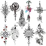 Oottati 8 Sheets Black Arrow Compass Feather Dragon Anchor Sword Snake Tree Flower Temporary Tattoos for Arm