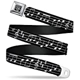 """Buckle-Down Unisex-Adults Seatbelt Belt Music Regular, Music Notes Black/White, 1.5"""" Wide-24-38 Inches"""