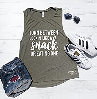 Torn Between Lookin' Like A Snack or Eating One Muscle Tank, Looking like a Snack Muscle Tank, Torn Between Lookin' Like a Snack or Eating One, Funny Snack Tank, Brunch Tank, Workout Shirt,