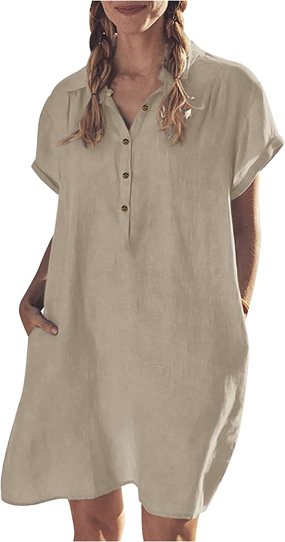 Sun Dresses Women Summer Fashion Women's Summer Casual Cotton Loose Short Sleeve Solid Shirt Dress Casual Sexy Boho