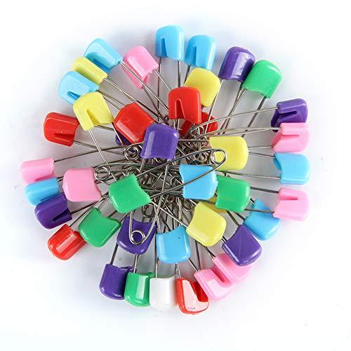 100 Stück Baby Sicherheitsnadeln, Windelnadeln, Plastikkopf Windelstifte, 4 cm & 5,5 cm Länge, für Baby Kind Kleinkinder Kinder (7 Farben)